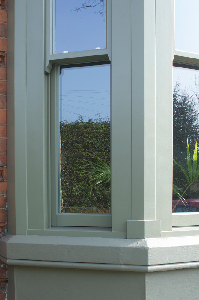 conventional sash bay window corner