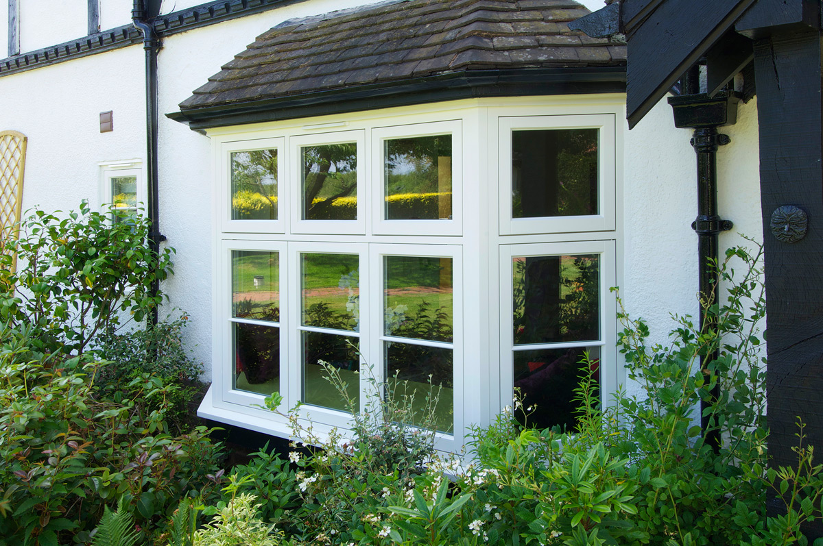 cottage flush casement bay window white