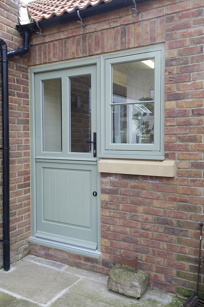 stable back entrance door glass panel side light casement window