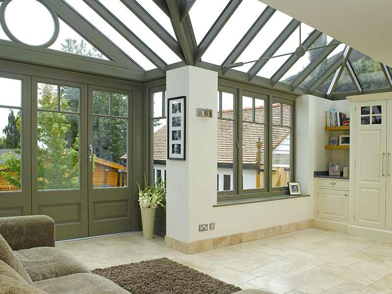 Timber framed conservatory & roof lantern Leamington Spa install