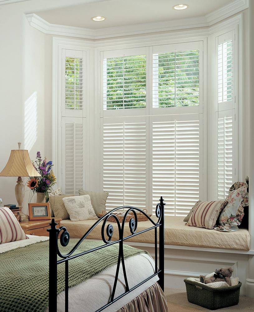 two tier plantation shutter bay window tilt rod